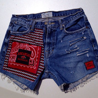 Custom Arkansas Razorback Upcycled Denim shorts