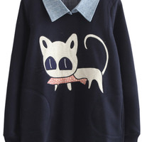 Cat Print Contrast Collar Sweatshirt