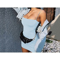 Fashionable Sexy Sling Ribbon Folded Button Night Club Dresses Light blue