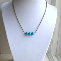 Simple Turquoise Bar Bead Necklace