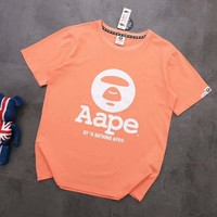 AAPE BAPE Popular Women Men Leisure Print T-Shirt Top Blouse Orange