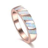 Rose Gold Women Rainbow colorful opal simple wedding promise Rings