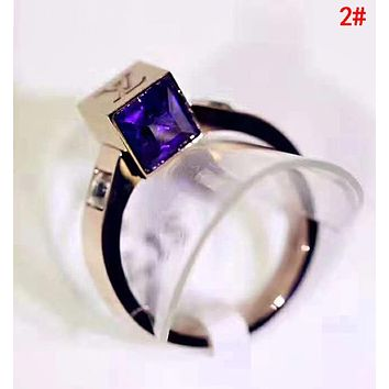 LV Stylish Women Delicate Colorful Diamond Rings Accessories Jewelry