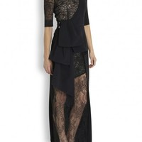 Alessandra Rich Black stretch silk and lace gown