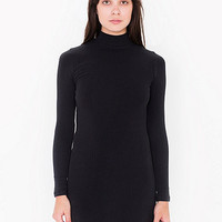 Rib Long Sleeve Mock Neck Mini Dress
