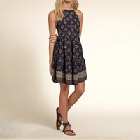 Patterned Tier Swing Dress