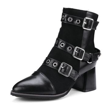Western Buckle Up Ankle Boots
