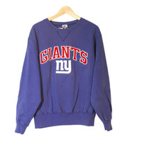 New York NY Giants Football Light Blue Crewneck Sweatshirt | Embroidered Logo | Official NFL Apparel | Adult Size X-Large (Fits like M/L)