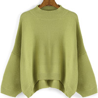Green Knitted Asymmetric Sweater