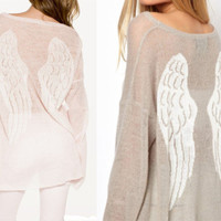 Wildfox style 2 color Ultrathin transparent Angel Wings Handmade wool cotton sweater coat reversible soft sweater/ coat / jacket S/ M / L
