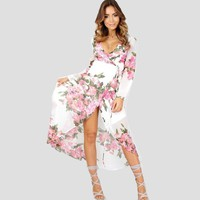 2017 Hirigin Women Dresses Floral Deep V-Neck Maxi BOHO Summer Long Evening Party Dress Beach Dress Sundress Long Sleeve Sexy