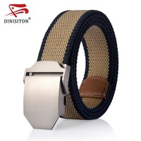 New Striped Adult Men Belt Alloy Buckle Tactical Canvas Belts For Man Automatic Buckle Cowboy Strap