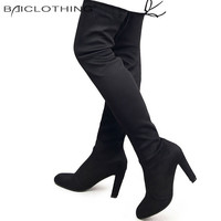 Fashion Slim Thigh High Heel Over the Knee Boots up to Size 10.5 (26.5cm)