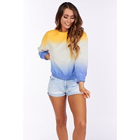 Paint In The Sky Tie Dye Crew Neck (Apricot/Midnight)
