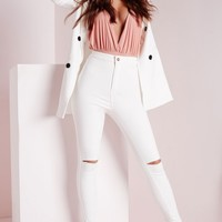 Missguided - Vice Super Stretch High Waisted Ripped Skinny Jeans White