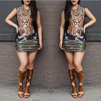 Newly Design Women Printed Sleeveless Party Summer Beach Loose Short Chiffon Mini Dress Black Drop Shipping#12