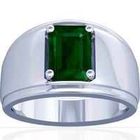 Platinum Emerald Cut Emerald Mens Ring (GIA Certificate)