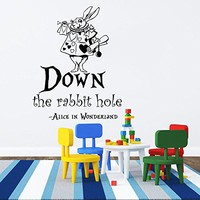 Wall Decals Quotes Alice in Wonderland - Down The Rabbit Hole - Rabbit Sayings Quote Kids Boys Girls Nursery Baby Room Wall Vinyl Decal Stickers Bedroom Murals