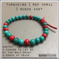CONFIDENCE   Turquoise   Red Coral   Red Suede Knot Bracelet