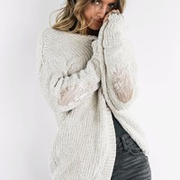 Getting Lost Almond Chenille Cardigan With Velvet Elbow Patch