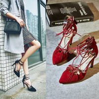Summer Leather Pointed Toe Hollow Out Cross Strap Shoes [4919953412]