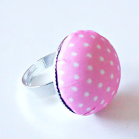 Ring for Girls - Pink White Dots Round Ring , Adjustable Ring for Girls And Teens , Girls Jewelry , Tiny Ring For Girls , Kids Jewelry
