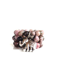 Spiritual Gemstone Rings Yoga Jewelry Love Sacred Elephant Good Luck Healing Pink Unique Mothers Day Etsy Gift  For Her Under 20 Item L6