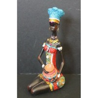 "African Tribal Lady with Water Basket 7"" Figurine in Colorful Dress"