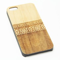 Lace Floral Wood Engraved iPhone 6s Case iPhone 6 Case iPhone 6s 6 Plus Cover Natural Wooden iPhone 5s 5 Case Samsung Galaxy S7 Edge S6 edge S5 Case D111
