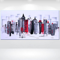 """Original Modern Abstract Painting Acrylic Canvas Wall Art Contemporary black white red gift Fine Art 48 x 24""""  by  Ettis Gallery"""