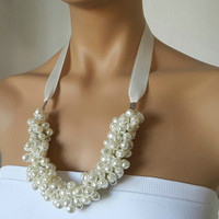 Bridal Accessory, Ivory Pearl Necklace, Weddings Pearl Necklace Brides Bridesmaids gifts