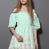 Floral Embroidery Organza Dress in Mint Blue Blue