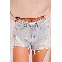 Count Your Lucky Stars Distressed Shorts (Denim)