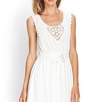 FOREVER 21 Embroidered Crochet Dress Cream Large