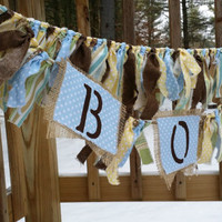 Shabby Chic Boy Rag Garland Rustic Decor Baby Photo Prop Baby Shower Decor Childrens Room Decor Gender Reveal Banner