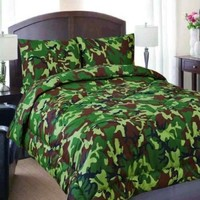 Regal Comfort Queen Size Green Army Camouflage / Camo 7 Piece Comforter & Sheet Set Bed in a Bag
