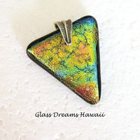 Triangle Fused Glass Pendant, Dichroic Glass Statement Pendant,  Golden Hues, Fashion Pendant, Hawaii Glass Jewelry, BOHO Jewelry