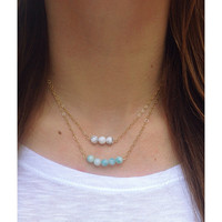 Small Gemstone Gold Bar Necklace