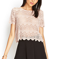 FOREVER 21 Ornate Crochet Lace Top Taupe Large