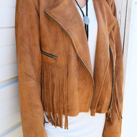 Fringe Factor Camel Suede Motorcycle Jacket With Fringe Details