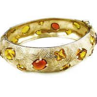 Castlecliff Bracelet, Bangle Bracelet, Amber Citrine, Glass Rhinestones, Gold Textured, Modernist, Vintage Jewelry