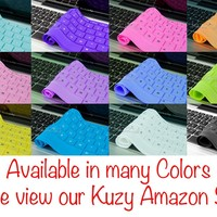 """Kuzy - Solid BLACK Keyboard Cover Silicone Skin for MacBook Pro 13"""" 15"""" 17"""" (with or w/out Retina Display) iMac and MacBook Air 13"""" - Solid Black"""