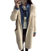 Women Crochet Long Cardigan Fashion Pockets Knitted Cardigans Sweaters With Beanies Rebecas Mujer Women Winter Clothes
