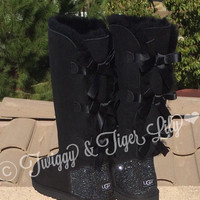 TALL Bailey Bow Uggs Blinged With Swarovski Crystals in Jet Hematite - Black Uggs with Bows and Crystals