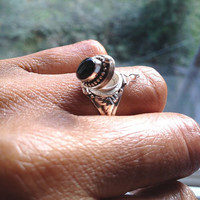 Sterling Silver Poison Ring, Trinket Ring, Onyx Ring, UK Shop