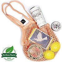 Tidawave Net Shopping Bag Cotton Market String Reusable Net Shopping Tote with Long Handles Washable Mesh Fruit Vegetable Pack of 2 (Natural + Macaron)
