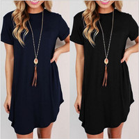 Short Sleeve Mini Ruffled Dress