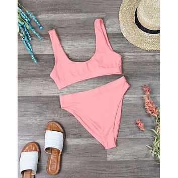 Dippin' Daisy's Sporty Banded Top High Waisted Cheeky Bottom Bikini Separates in Coral