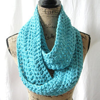 Turquoise Cowl Scarf Fall Winter Women's Accessory Infinity