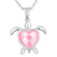 Turtle Heart Powers Amulet Candy Pink Cats Eye Faceted Positive Energies Pendant 22 Inch Necklace